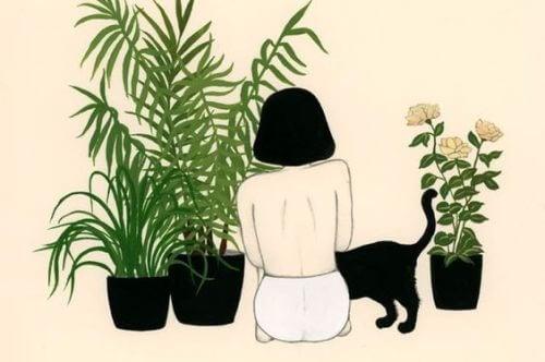 女孩盆栽與貓