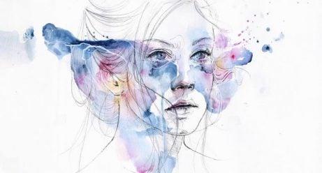 臉部有色彩的女人