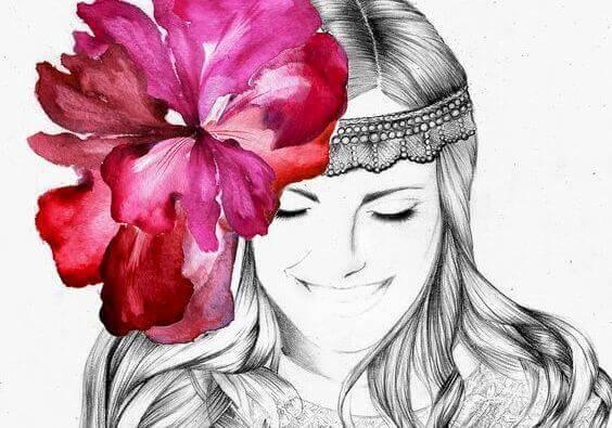 頭髮上的花朵