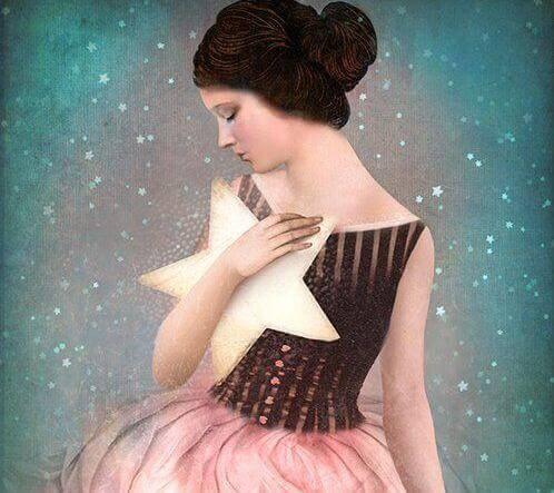 女人與星星自我激勵以克服憂鬱