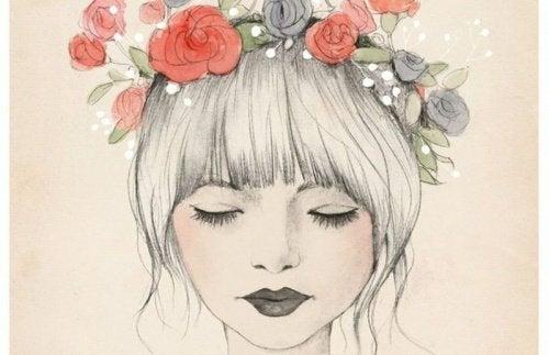 頭髮插花的女生