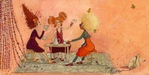 與朋友喝咖啡