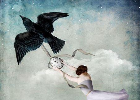 鳥帶著女人飛