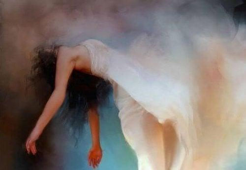 漂浮的白色禮服女人