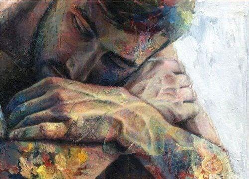 一個雙臂交叉的男人的繪畫