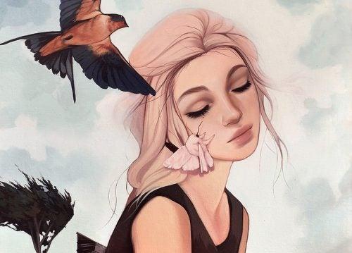 閉眼女孩與鳥
