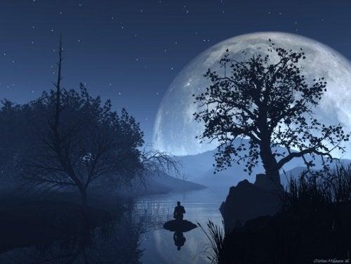 月光下划船