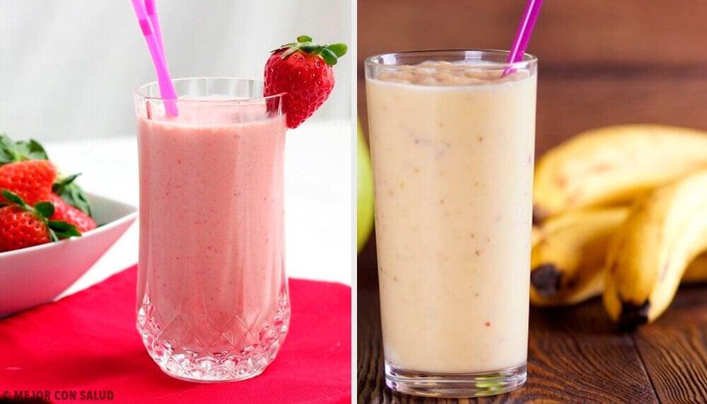 草莓和香蕉的5種早餐果昔